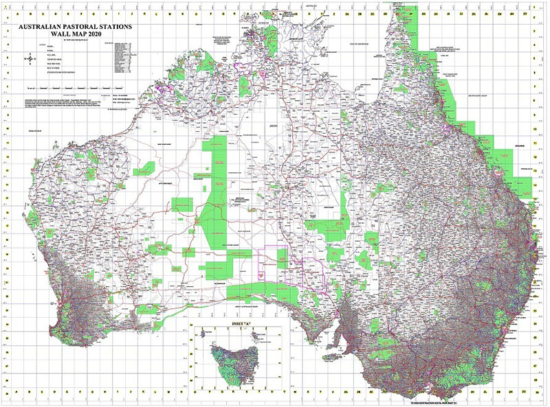 Map of Australian Pastoral Stations from Alick Maps