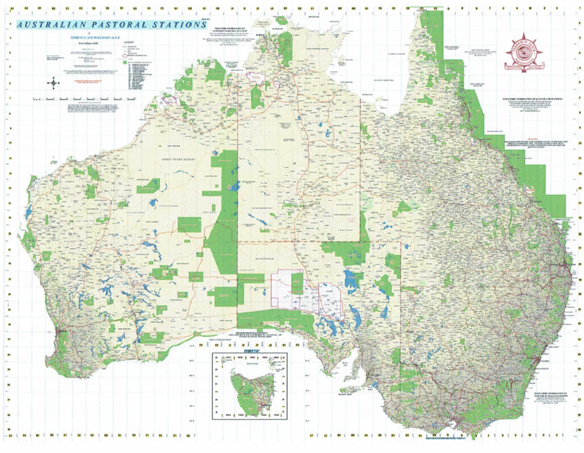 Wall map of Australian Pastoral Stations from Alick Maps
